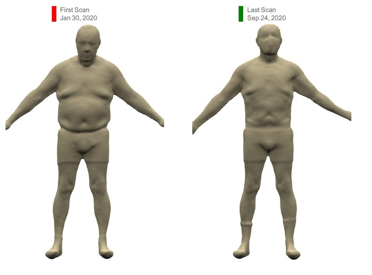 Before and after photo of a man using the 3D Profile body scanner