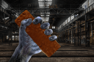 Profile Chewy Chocolate Mint Bar in monster's hand