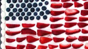 Independence Day Red White and Blue Strawberry Cake