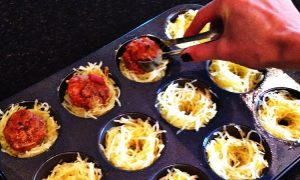 Placing Ground Beef in Spaghetti Squash